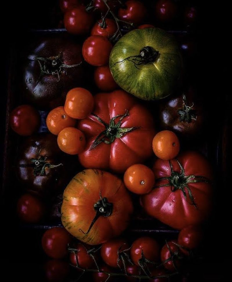 Tri coloured tomatoes on a table