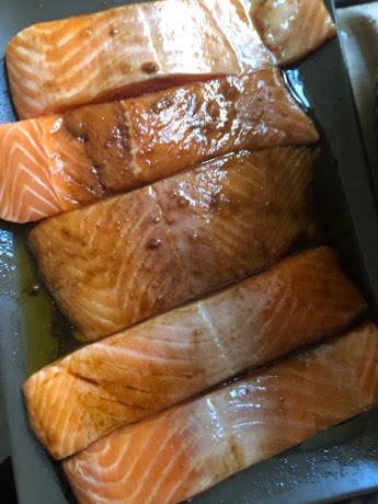 Salmon basted with marinade
