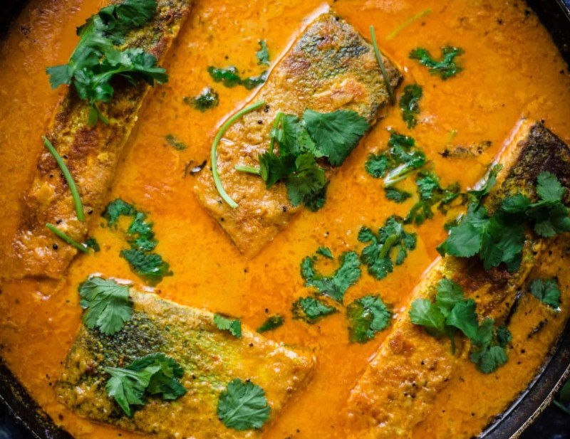 Indian Salmon Fish in a pan with Coriander