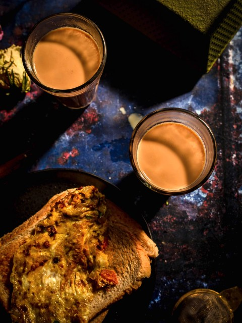 2 cups of chai with masala omelette on toast