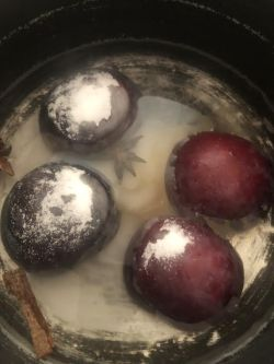 Plum halves down in pan with sugar added to the top
