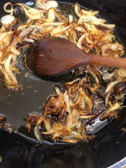 Browned onions in pot