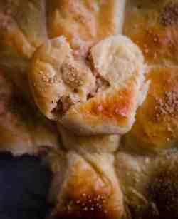 Chicken milk bun recipe open to show filling