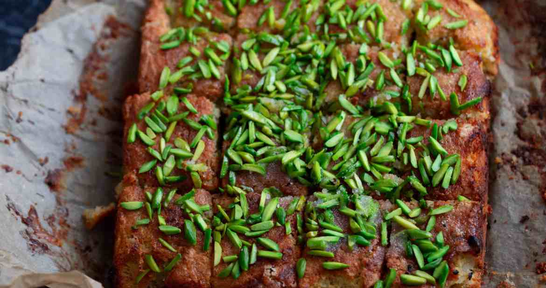 Square Lemon Pistachio Cake on baking paper