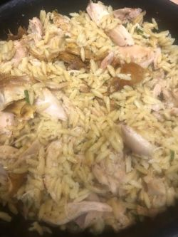 Shredded Chicken added to Orzo Pot
