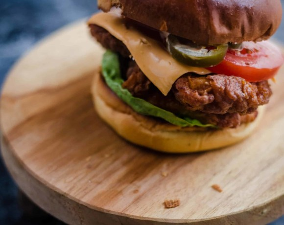 Buttermilk Chicken Burger on a small stool