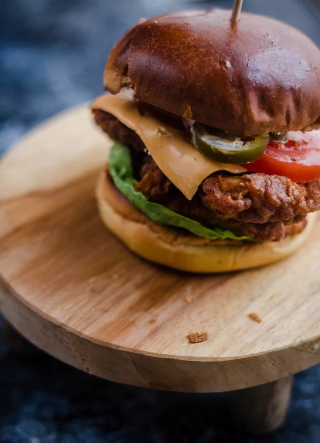 Buttermilk Chicken Burger on a small stool