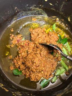 Ghee roast masala added to pot