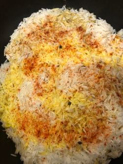 Rice with colouring on top