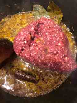 Mince added to pot