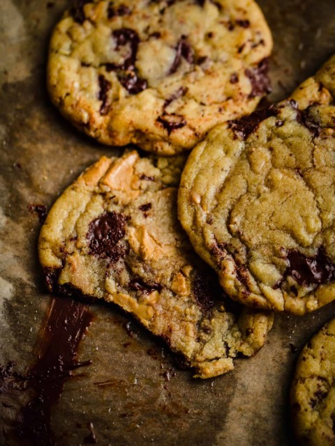 Brown Butter Cookies on a lined baking tray