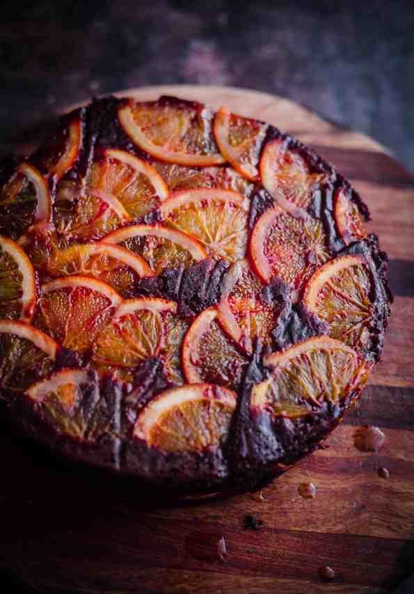 Blood Orange Chocolate Cake on wooden board