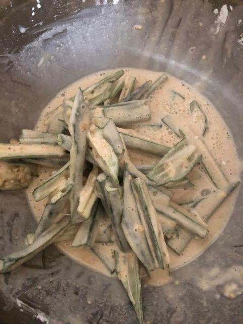 Okra in batter in bowl