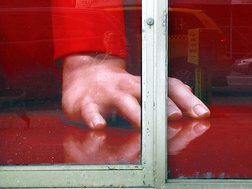 Red Hand In Window, by Ingrid Spangler