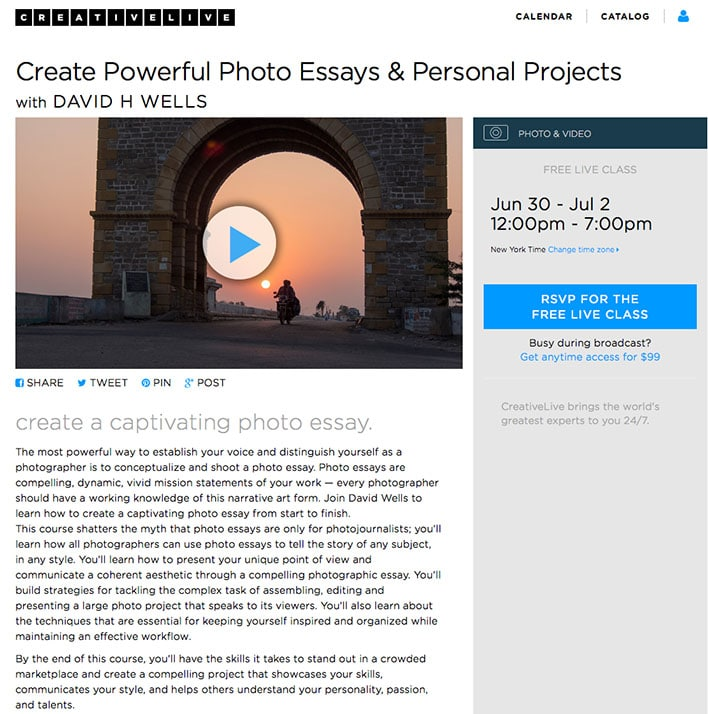 Create Powerful Photo Essays & Personal Projects, a course on CreativeLive.com