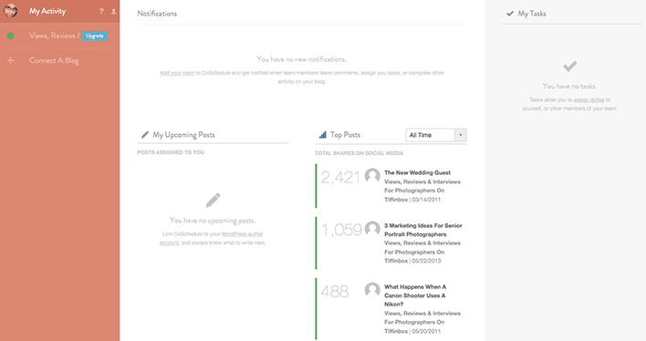 CoSchedule Activity Screen