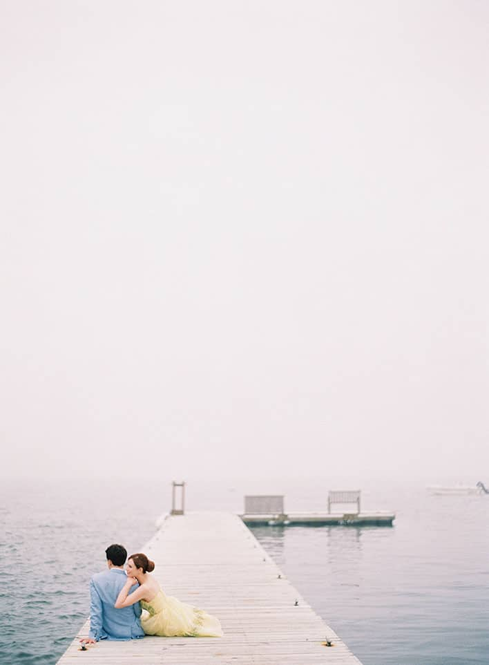 Jen Huang: Fine Art Wedding Photography, Bride and Groom on Pier