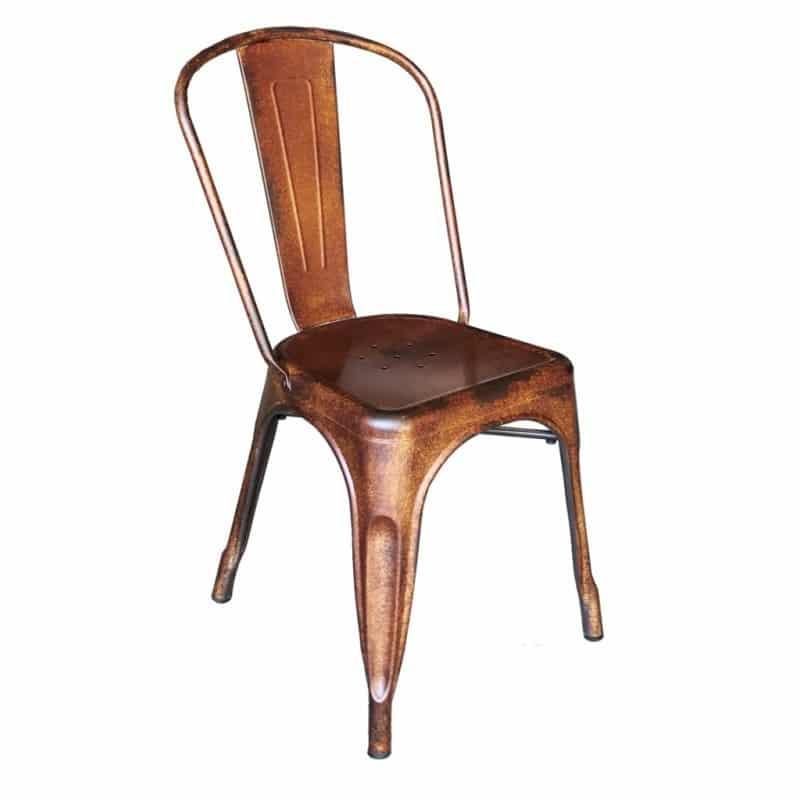 chaise industriel metal rouillee