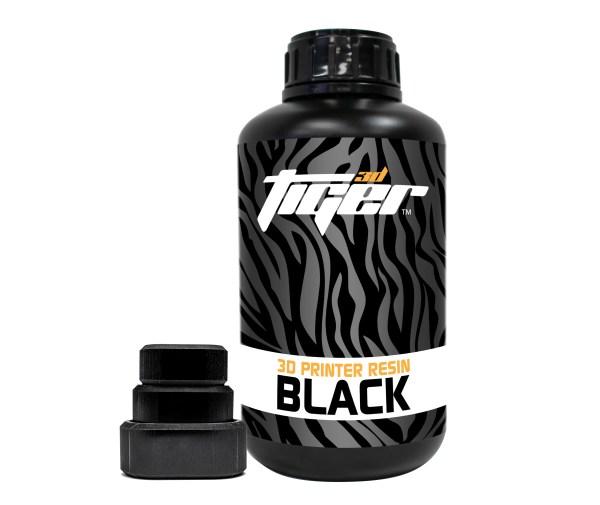 Black 3D Printer Resin Bottle and sample.