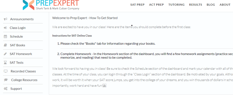 Prep Expert login page for SAT