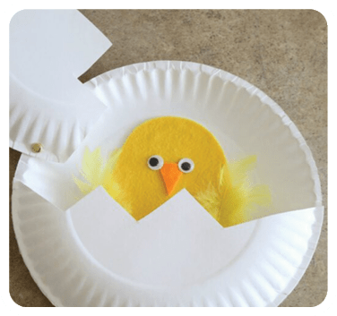 """The paper plate hatching chicks toddler craft is a great extension activity for the story """"Are You My Mother"""" by P.D. Eastman"""
