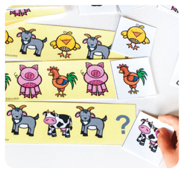 Play this Are You My Mother farm animal patterns activity to help your toddler practice pattern skills.