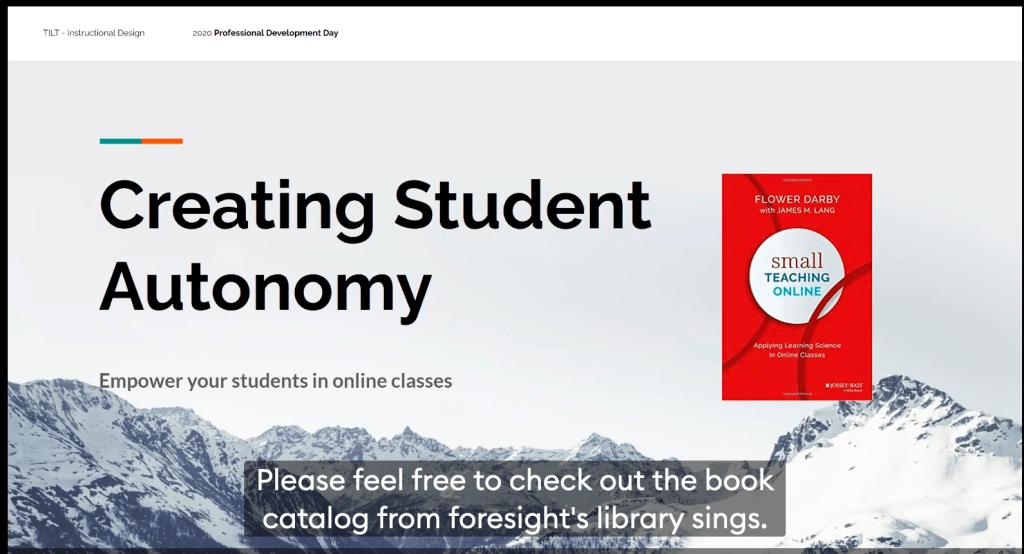 Creating Student Autonomy