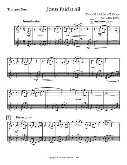 Jesus Paid it All Trumpet Duet first page