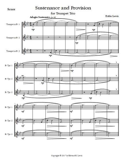 Sustenance and Provision for Trumpet Trio sample score
