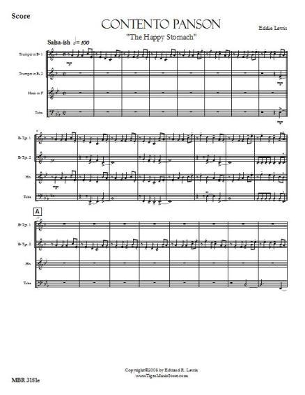 Contento Panson Brass Quartet Sheet Music PDF Sample Score
