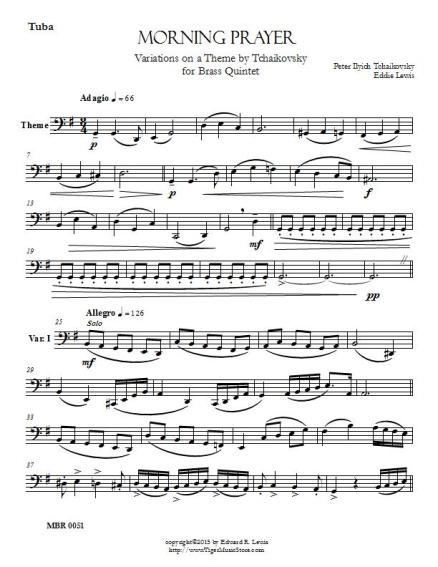 Tchaikovsky Morning Prayer brass quintet sheet music pdf sample part