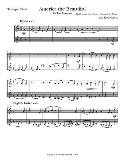America the Beautiful Trumpet Duet Sheet Music Sample