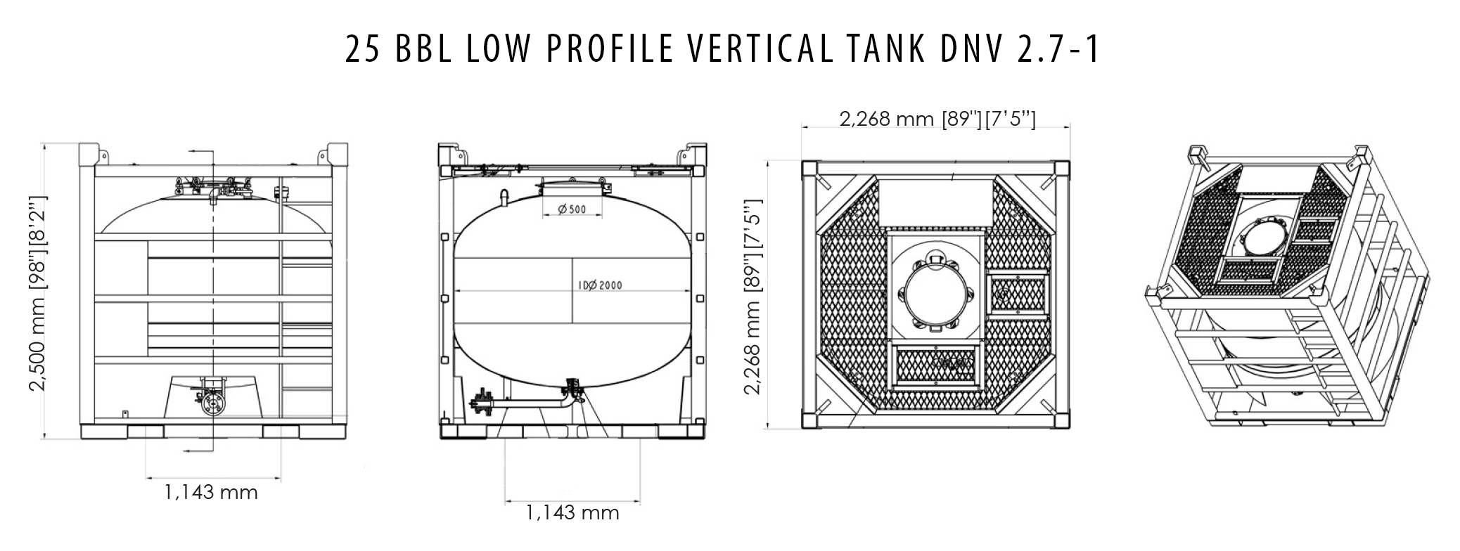 25 Bbl Stainless Steel Low Profile Vertical Tank Dnv 2 7 1 Tiger Offshore Rentals