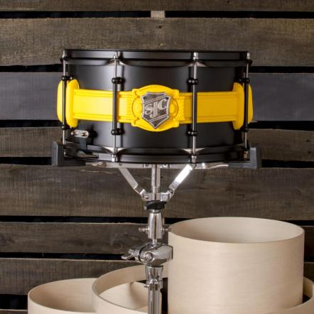 Tiger Stone FX Batman 89 belt on snare drum made by SJC custom drums