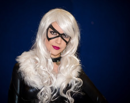 Tiger Stone FX Black Cat Mask worn by Resident Redhead cosplay - photo by Tony and Dave Cosplay Photographers