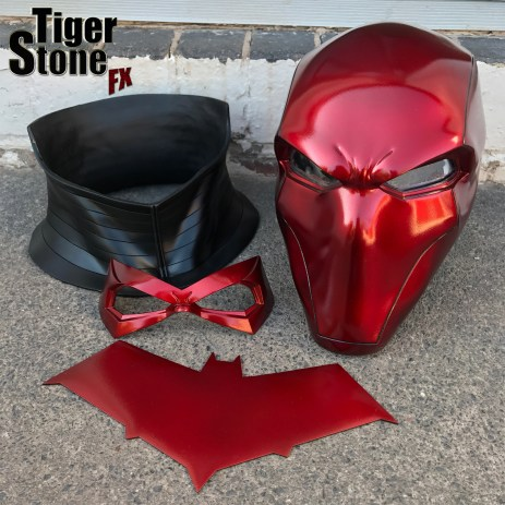Red Hood helmet bundle in Deep Metallic Red with neck piece, chest emblem and a face mask by Tiger Stone FX