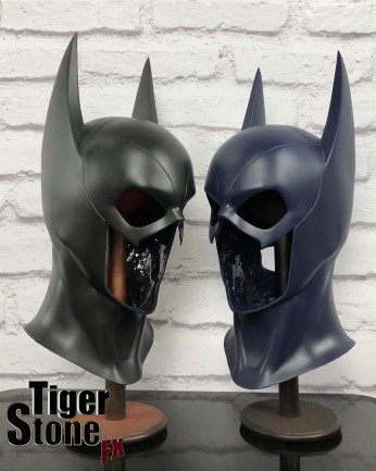 Batgirl cowl (long eared) in black and dark blue - Made by Tiger Stone FX