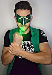 Jeremy wearing one of our Green Lantern mask (customer photos) - made by Tiger Stone FX