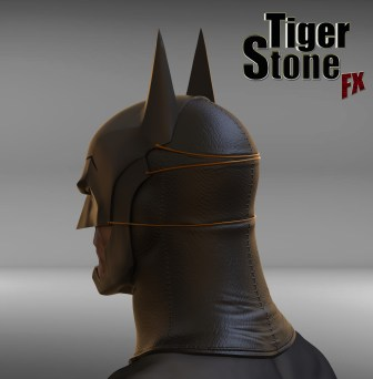 Batman Ninja cowl - finished sculpture (back) - by Tiger Stone FX