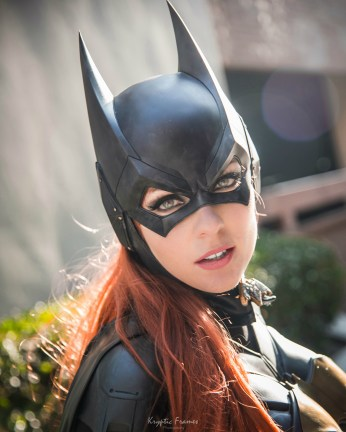 Batman Arkham Knight Batgirl cowl by Tiger Stone FX worn by WhoaNerdAlert (photo by Kryptic Frames) - (customer photos)