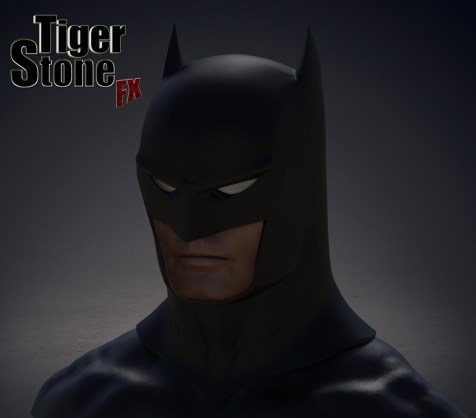 Capullo New 52 Rebirth Metal Batman cowl by Tiger Stone FX (finished sculpture, front side)