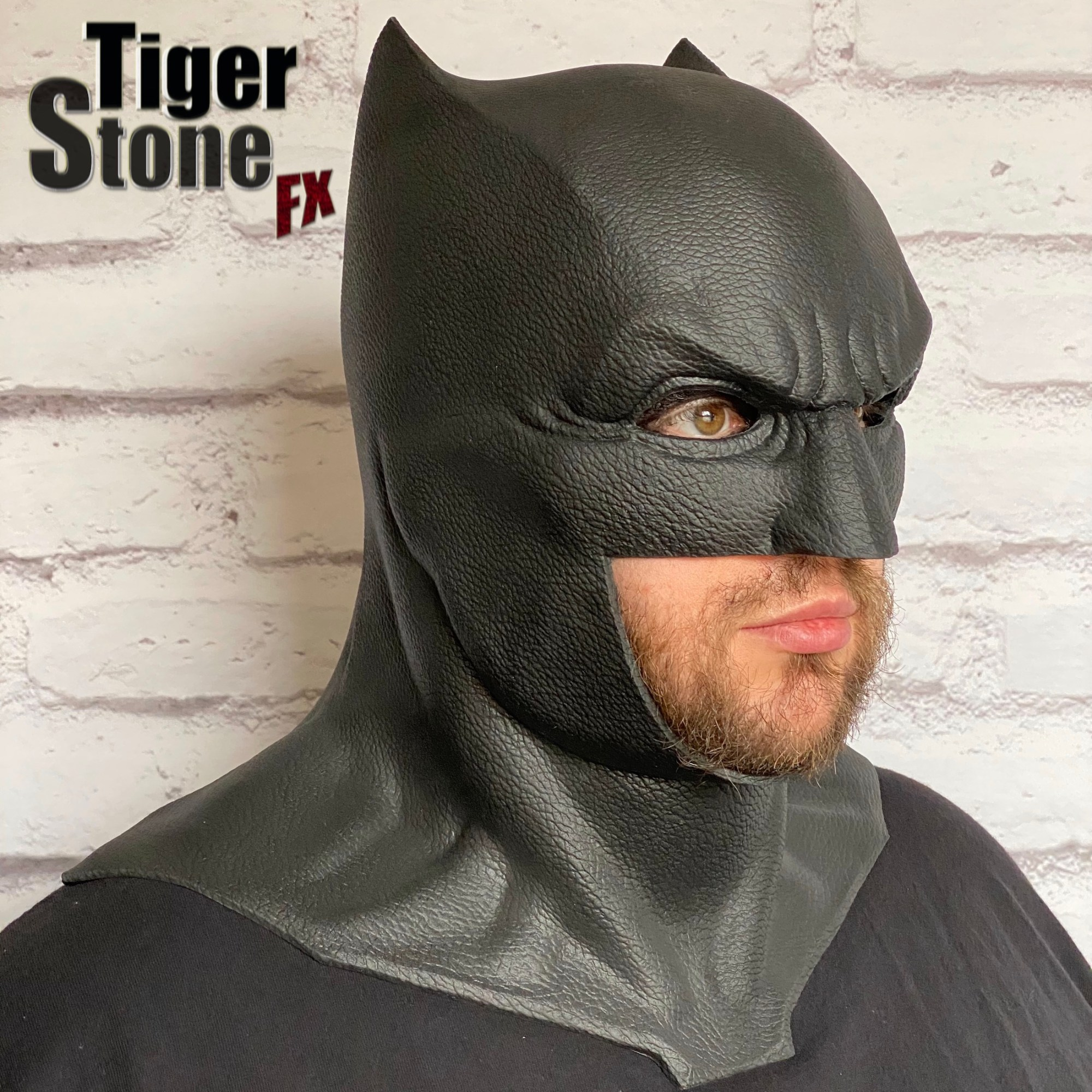Justice League Batman cowl (worn by Nat) - handmade by Tiger Stone FX