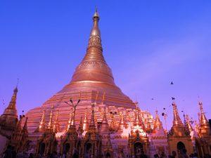 shwedagon pagoda at dusk