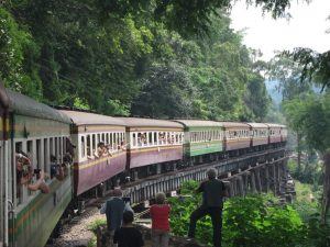 train crossing Wang Pho viaduct death railway
