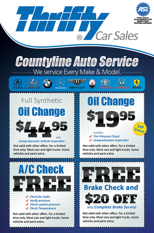 thrifty car sales flyer design   printing in florida car repair shop logo car repair shop logo