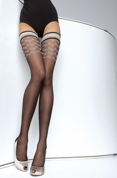 Fiore - Subtle patterned hold ups with satin sheen top Daiva 20 denier, black, size S