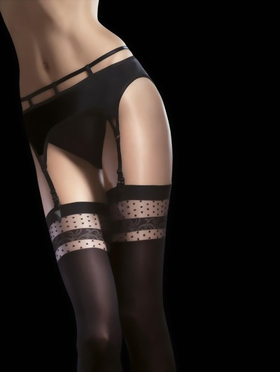 Fiore - Semi-opaque stockings with heart pattern top Nell, black, size S