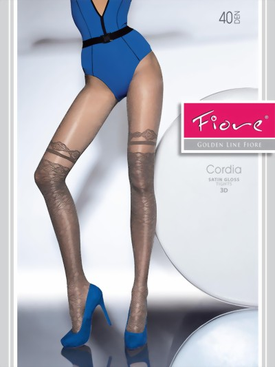 Fiore - Satin gloss mock over the knee tights Cordia 40 DEN, graphite, size M