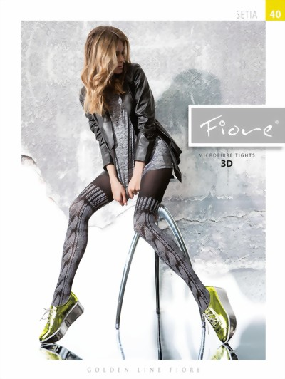 Fiore - Sophisticated mock over the knee tights Setia 40 DEN, black-white, size S