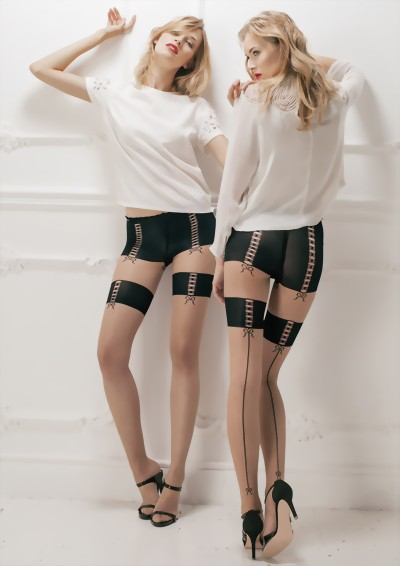 Trasparenze - Sensuous mock hold up tights with lace-up openwork design Dercas, nude-black, size S